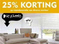 25% Korting op raamdecoratie